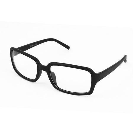 Women Black Plastic Arms Full Rims Clear Lens Plain Eyeglasses Spectacles