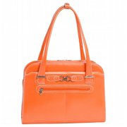 Oak Grove - Orange Leather Fly-Through Checkpoint-Friendly Ladies Briefcase