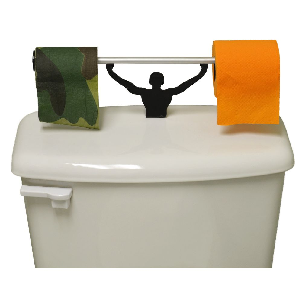 Camo & Blaze Orange Toilet Paper W/ Strong Man Holder Hunter Gift Set