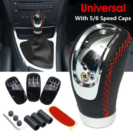 PU leather Universal Manual Transmission MT Car Gear Stick Shift Shifter + 5/6 Speed 3 Caps Black /Red ()