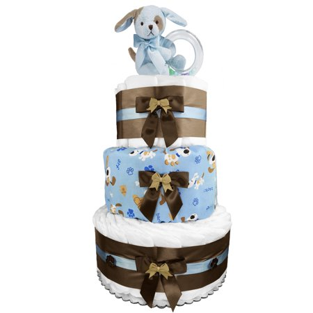 Puppy 3-Tier Diaper Cake - Baby Shower Gift - Newborn Gift - Blue and Brown - Elephant Diaper Cake