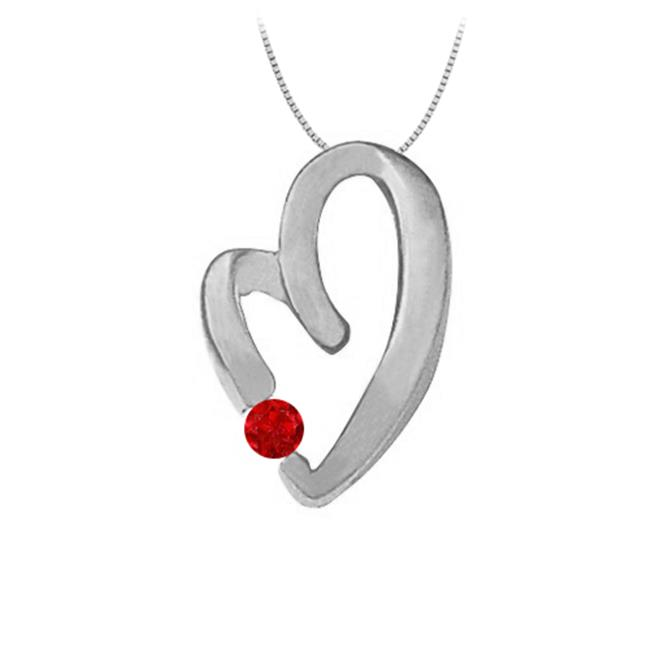 Fine Jewelry Vault UBNPD30889W14R July Birthstone Ruby Heart Pendant Necklace in 14kt White Gold 0.15 CT TGW. by Fine Jewelry Vault