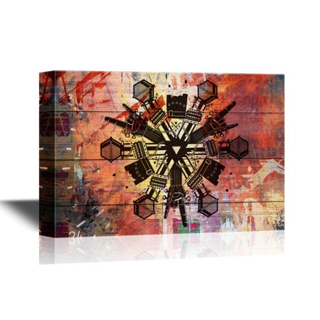 Snowflakes To Hang From Ceiling (wall26 Canvas Wall Art - Snowflake with Rock Music Elements - Gallery Wrap Modern Home Decor | Ready to Hang - 24x36)