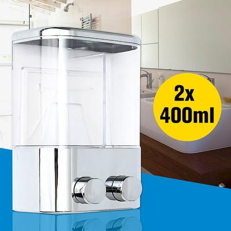 Snowman Soap Dispenser (Double Wall Mount Soap Dispenser Container Bottle For Shampoo Shower Gel Liquid Foam Lotion)