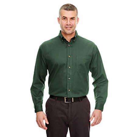 UltraClub Adult Cypress Long-Sleeve Twill with Pocket - Natural Twill Shirt