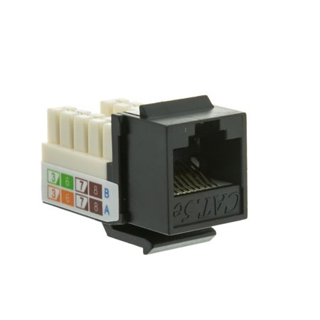 ACCL RJ45 Female to 110 Punch Down Cat5e Keystone Jack, Black, 5pk