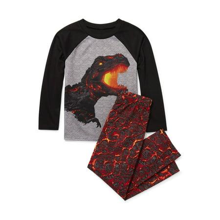 Long Sleeve Lava Dino Pajama 2 Piece Pant Set (Little Boys & Big Boys)