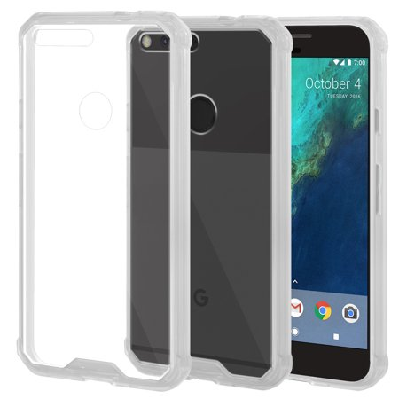 SlimGrip Shockproof Hybrid Protective Clear Case with TPU Trim Bumper for Google Pixel 5 Inch Phone - Clear ()