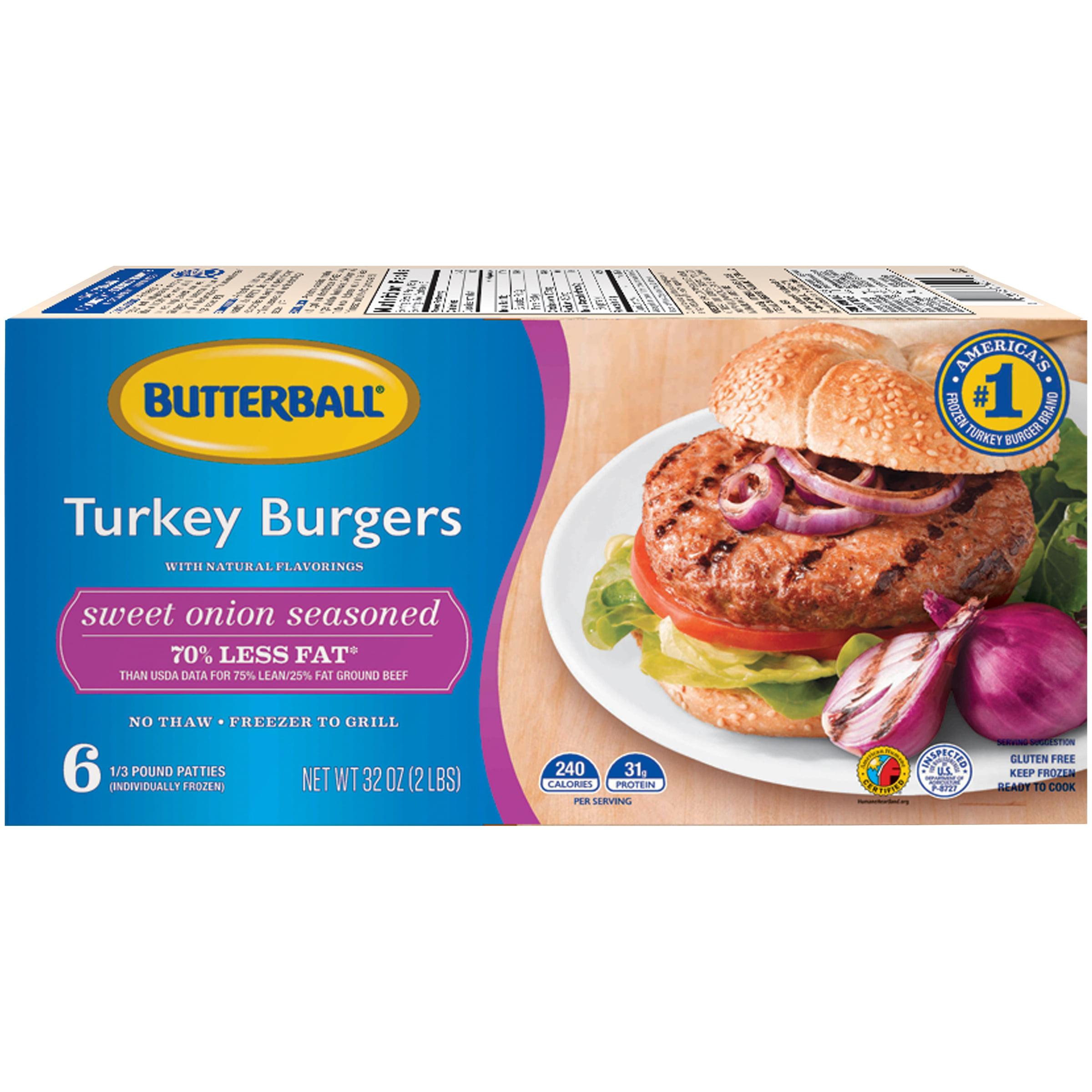 Butterball® Everyday Sweet Onion Seasoned Turkey Burgers 6 ct Box