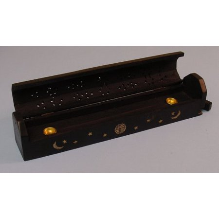 Wooden Coffin Incense Burner - Black Sun and Moon 12