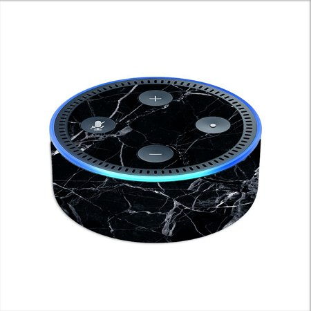 Skin Decal For Amazon Echo Dot 2 2Nd Gen/ Black Marble Granite White