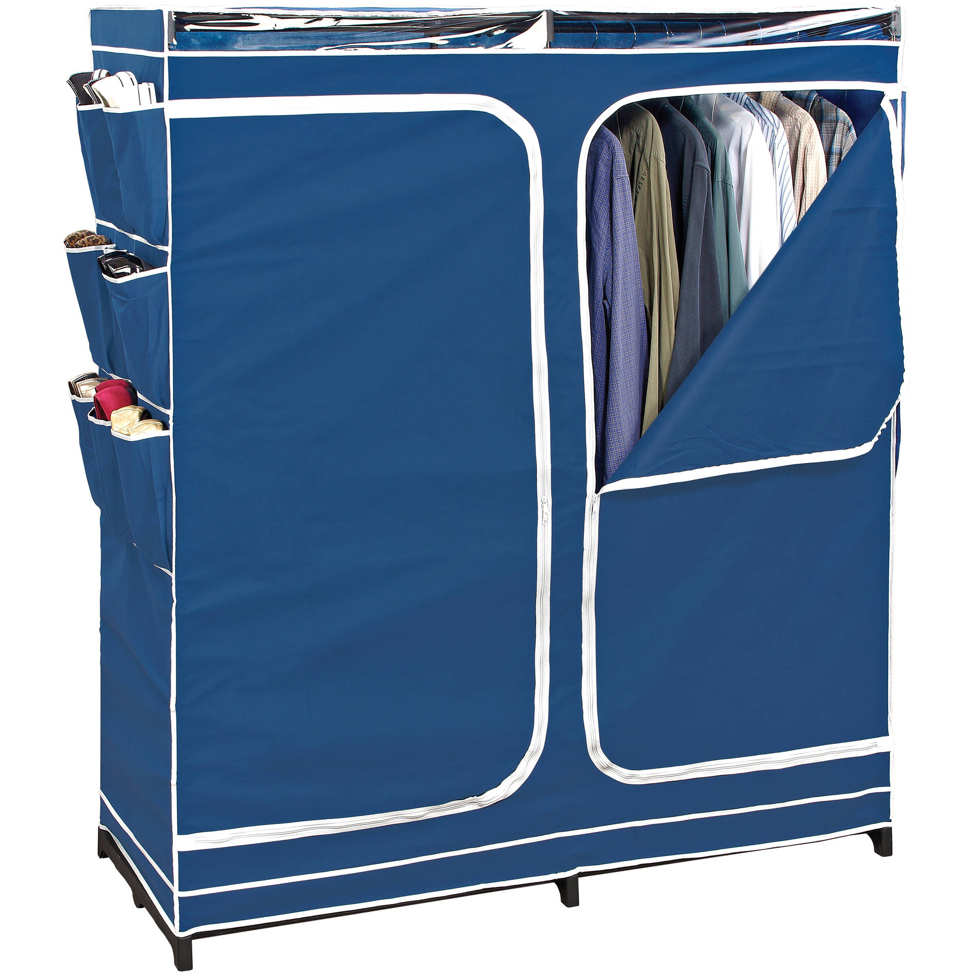 "60"" Portable Closet with Side Shoe Compartments, Blue"