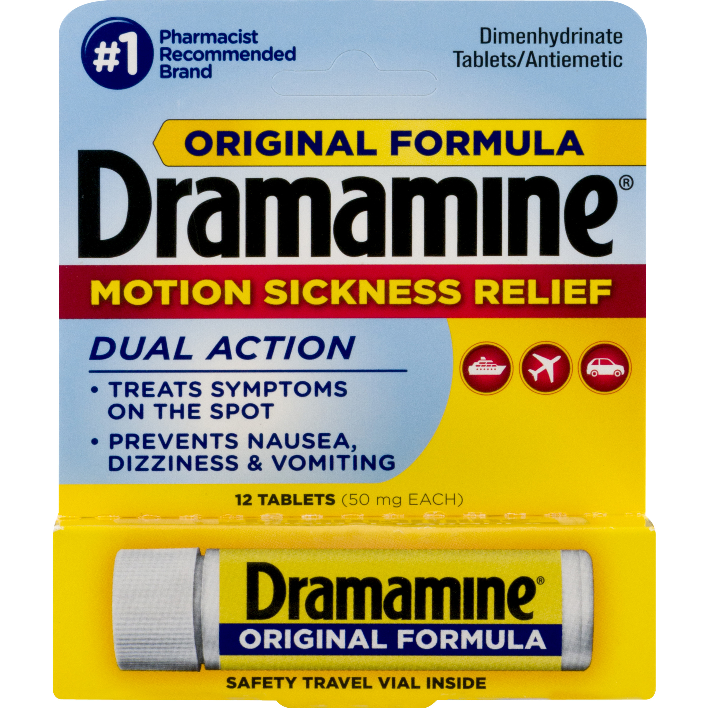 Dramamine Original Formula Dimenhydrinate Tablets Dual Action - 12 CT12.0 CT