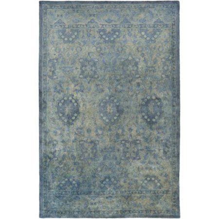 8 X 11 Berber Garden Steel Blue And Olive Green Hand Tufted Area Throw Rug