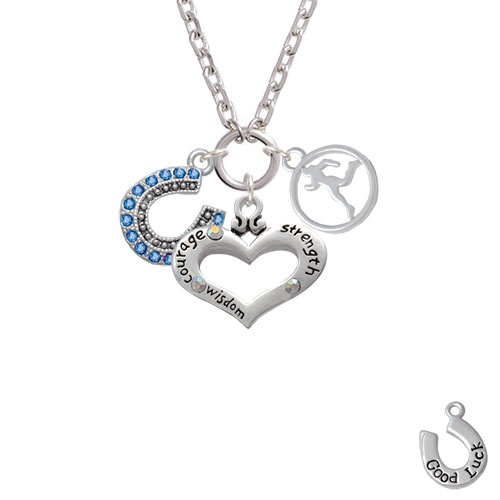 Beaded Blue Crystal Horseshoe with Good Luck Courage Strength Wisdom Heart & Runner Zoe Necklace