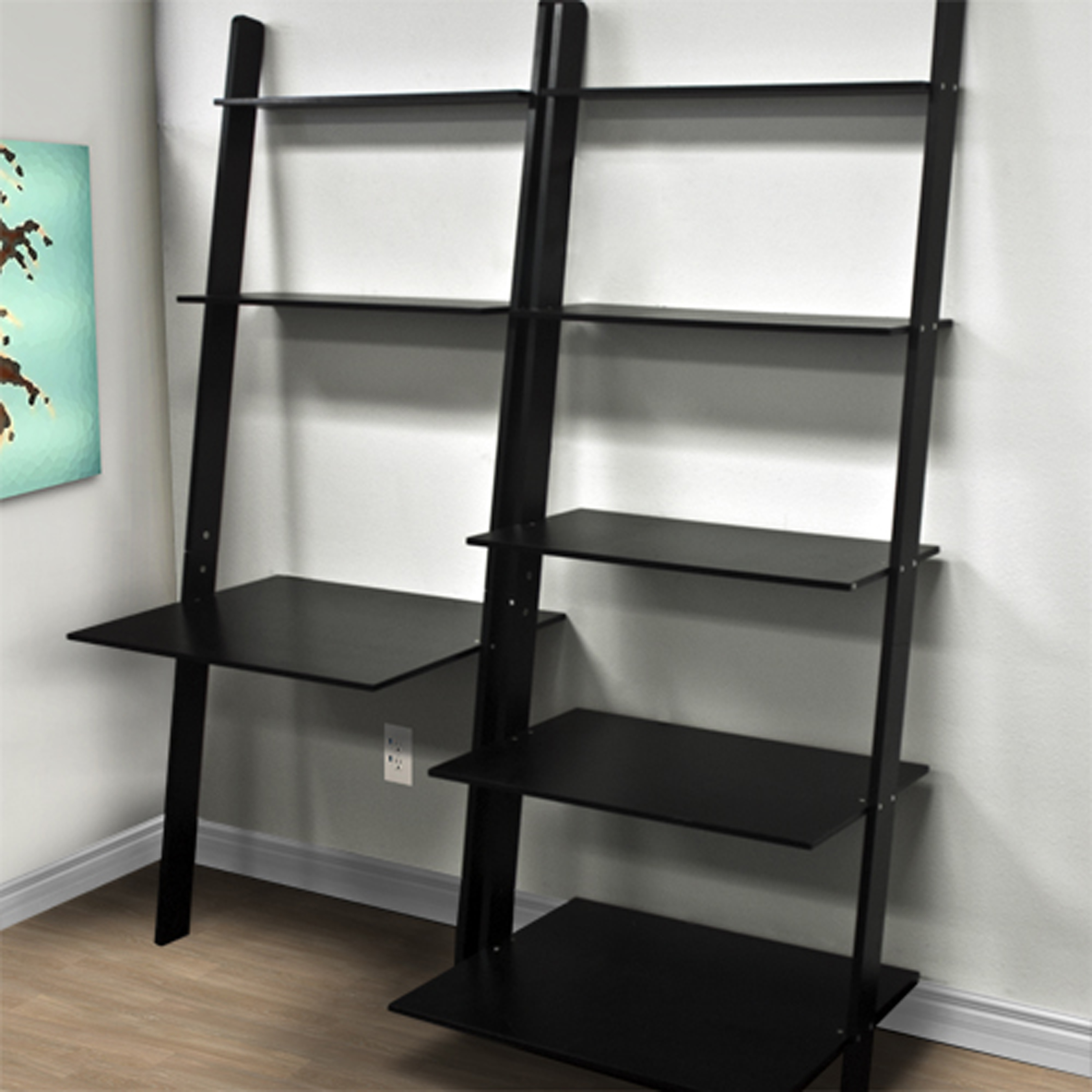 Best Choice Products 7 Shelf Leaning Bookcase And Computer Desk For Home And Ofice Furniture Black Walmart Com Walmart Com