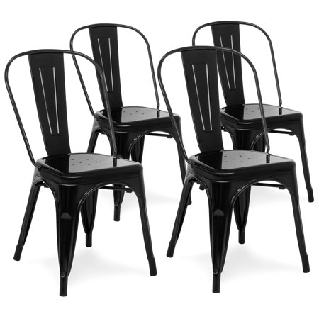 Best Choice Products Set Of 4 Stackable Industrial Metal Bistro Dining Side Chairs for Home, Dining Room, Cafe - Black