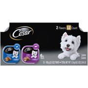 (12 Pack) CESAR Soft Wet Dog Food Loaf in Sauce Rotisserie Chicken Flavor with Bacon & Cheese and Filet Mignon Flavor with Bacon & Potato Variety Pack, 3.5 oz. Easy Peel Trays