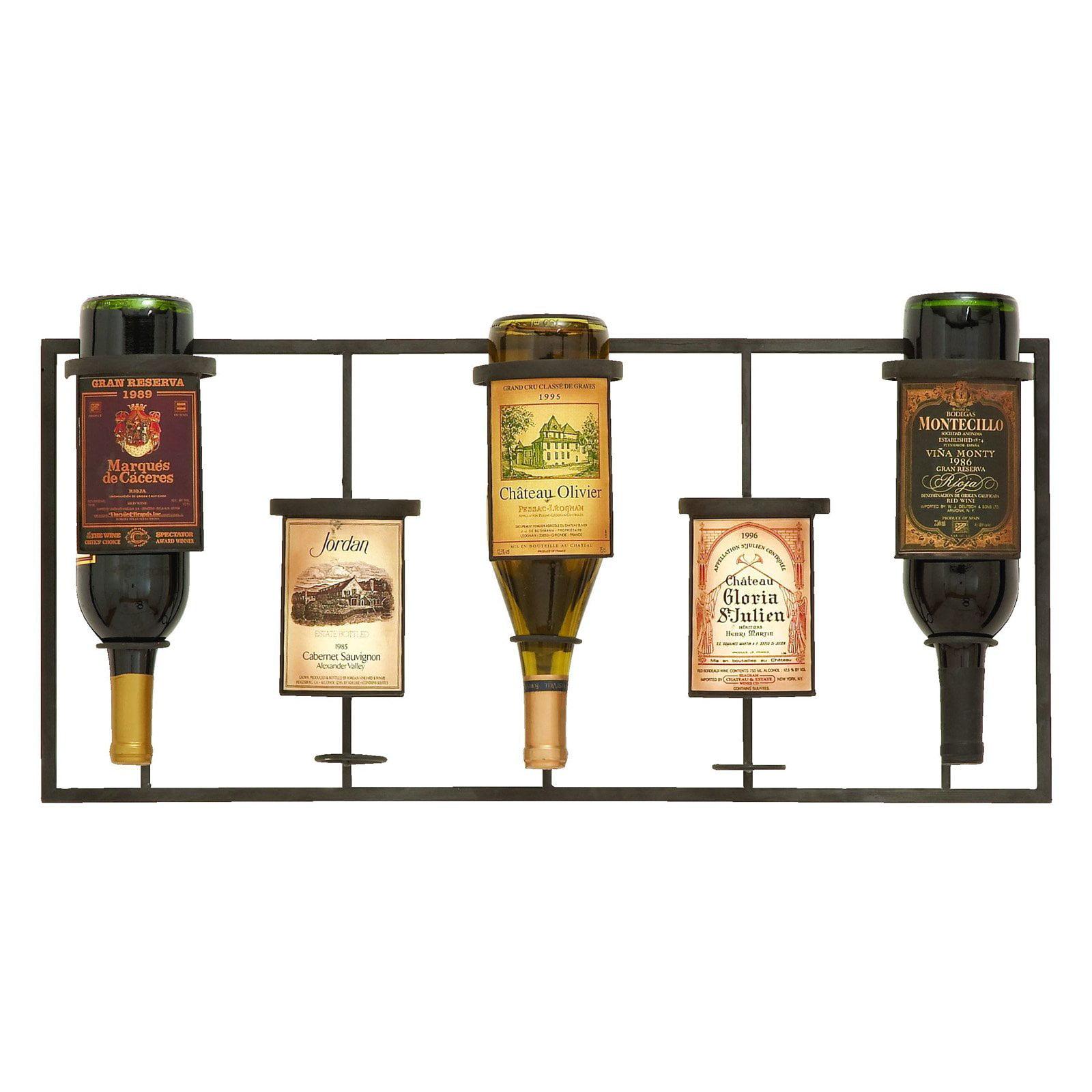Woodland Imports Wine Label 5 Bottle Wall Wine Rack