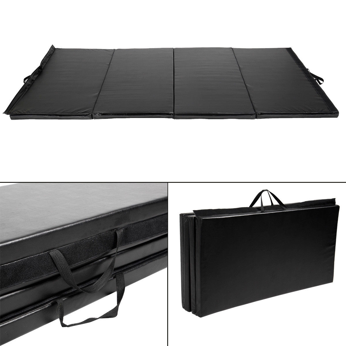 "Costway Black 4'x10'x2"" Thick Folding Panel Gymnastics Mat Gym Fitness Exercise Mat"