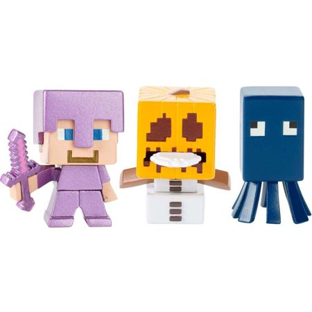 Minecraft Build-A-Mini 3-Pack Steve Enchanted Armor, Snow Golem, Squid