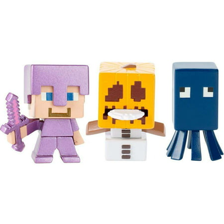 Minecraft Build-A-Mini 3-Pack Steve Enchanted Armor, Snow Golem, - Minecraft Halloween Quick Build