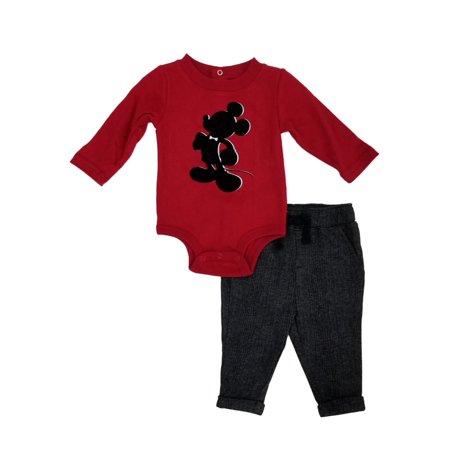 Disney Infant & Toddler Boys 2pc. Mickey Mouse Long Sleeve Bodysuit & Pants Set (Mickey Mouse Infant)