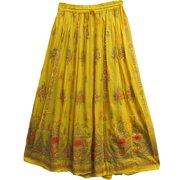 Womens Indian Sequin Crinkle Broomstick Gypsy Long Skirt (Yellow)