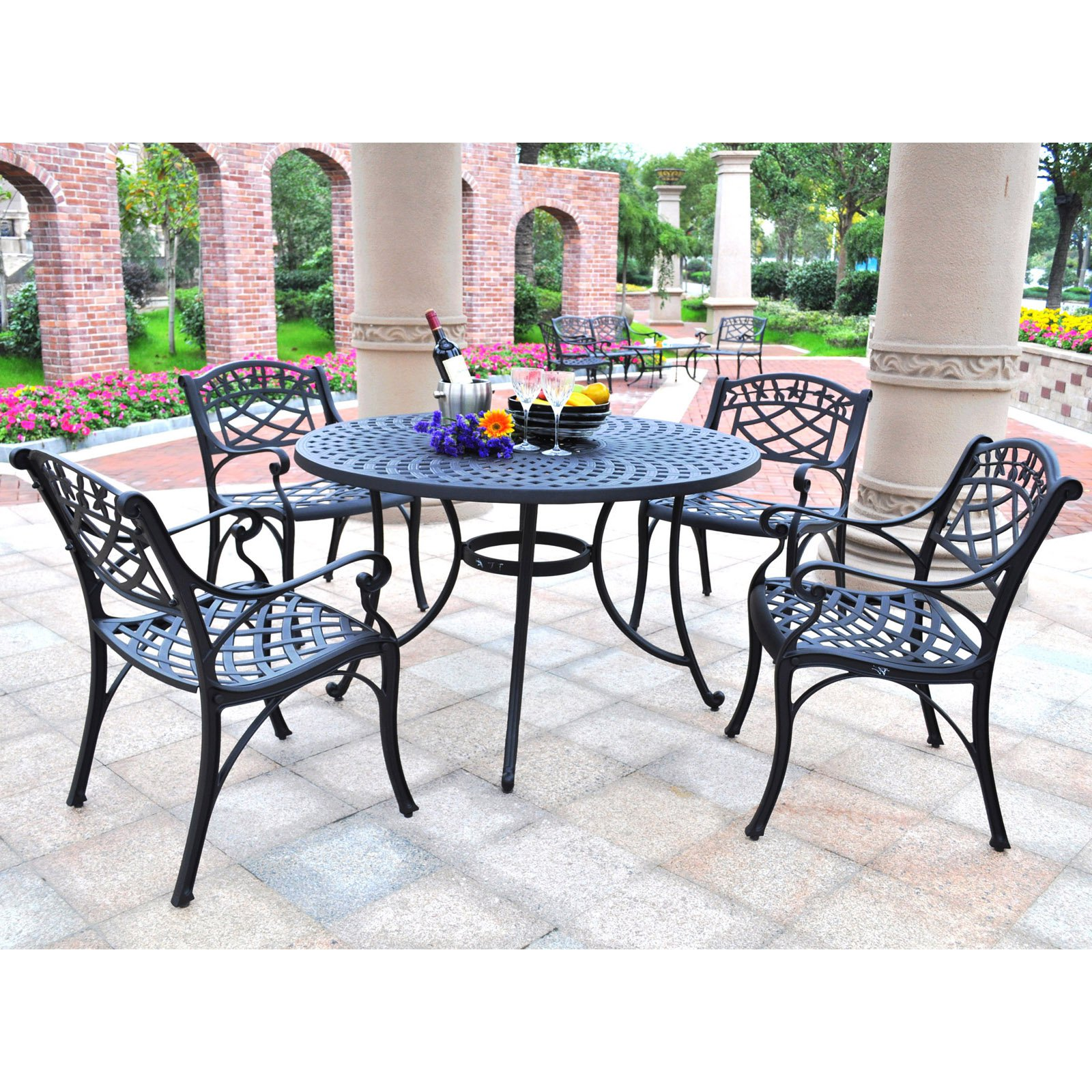Crosley Sedona 48 in. 5 Piece Cast Aluminum Outdoor Dining Set with Arm Chairs