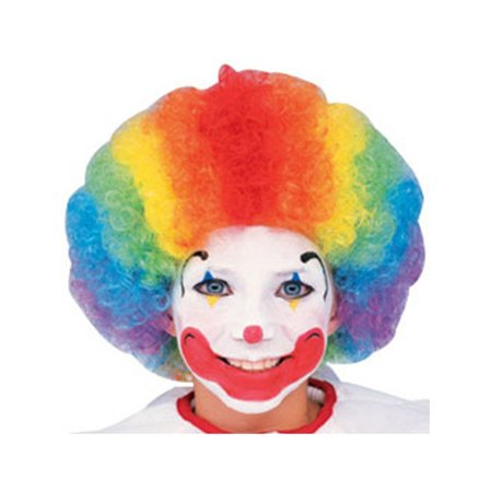 Child Adult Multi-Color Rainbow Striped Clown Afro - Afro Moustache