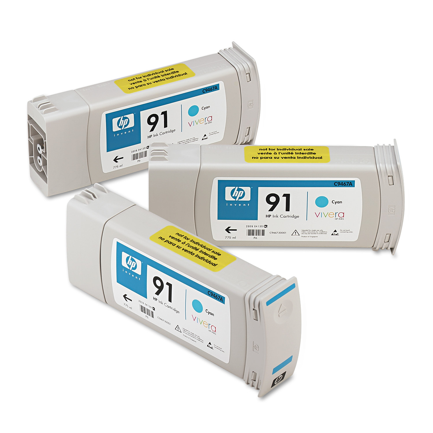 HP 91, (C9483A) 3-pack Cyan Original Ink Cartridges