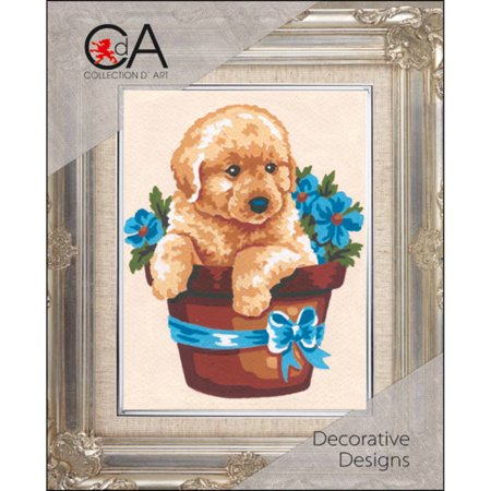Collection D'Art Stamped Needlepoint Kit, 20cm x 25cm, Puppy In Flower Pot ()