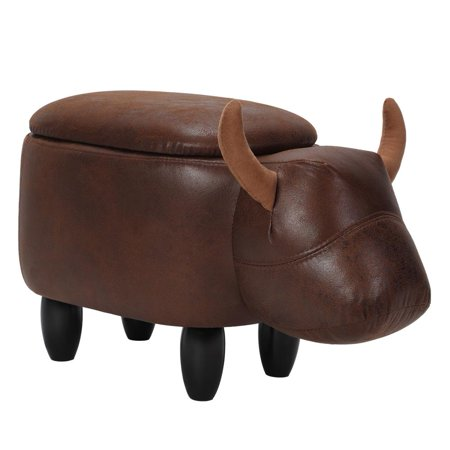 Yosoo Animal Shape Foot Rest Stool,Multi-functional PU Leather Storage Stool Cow Shape Ottoman Foot Rest Stool,Kids Ride-On Chair Upholstered Adult Foot-Rest Chair with 4 Wood Legs for Home Office ()
