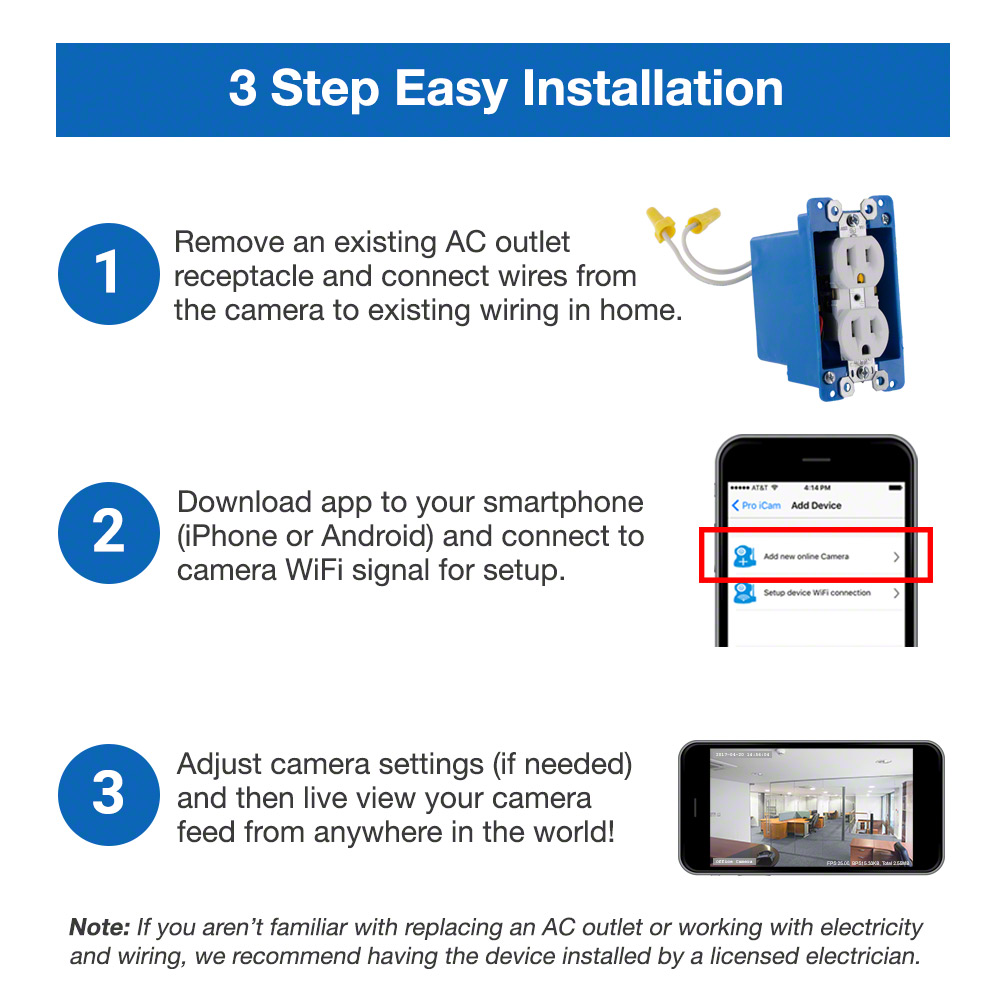 Spygeargadgets 1080p Hd Wifi Streaming Ac Powered Electrical Outlet Receptacle Wiring Code Hidden Camera Stream Live To Iphone Or Android