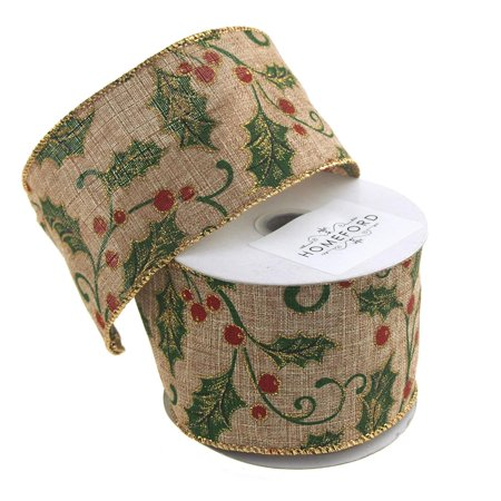 Holly Leaf Christmas Canvas Ribbon, 2-1/2-Inch, 10 Yards, Natural/Green Holly Leaves Bow