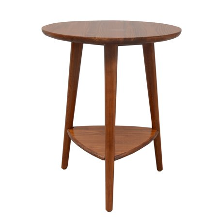 Porthos Home Double Side Table With Solid Pine Oval Top And Three Wooden Legs (White Top, Mid-century Style)