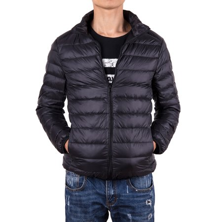 Men Lightweight Jacket - Men Down Jacket Outwear Puffer Coats Casual Zip Up Windbreaker Lightweight Winter Jackets Black