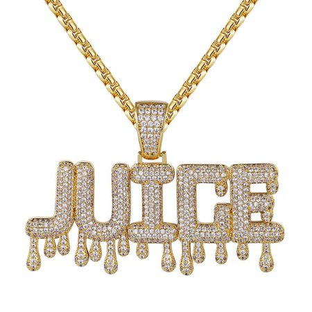 Men's Dripping Juice Iced Out 14k Gold Finish Custom Pendant Chain