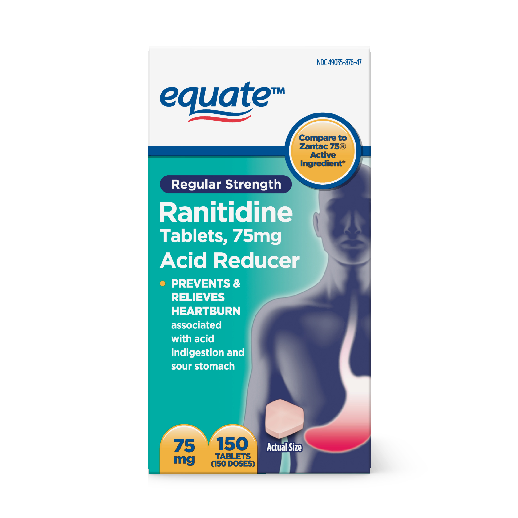 Equate Regular Strength Acid Reducer Ranitidine Tablets, 75 mg, 150 Ct