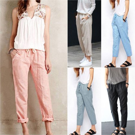 - Linen Pant Casual Womens Elastic Waist Ninth Pants Trousers Summer Wide Leg Pants for Women Large Plus Size M-6XL Harem Pants