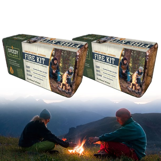 Speedy Blaze Value 2-Pack Campfire Fire Pit Logs Backyard Camping Roasting Marshmallow & Hot Dogs, 3-Hour Blaze