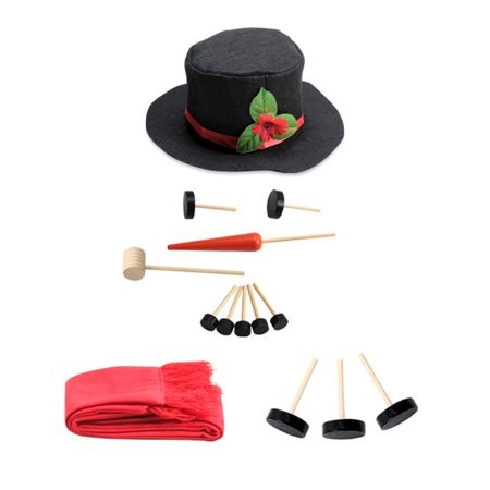 Iuhan Red Snowman Dressed Up Kit Winter Tools Outdoor Games Christmas Home Decorations
