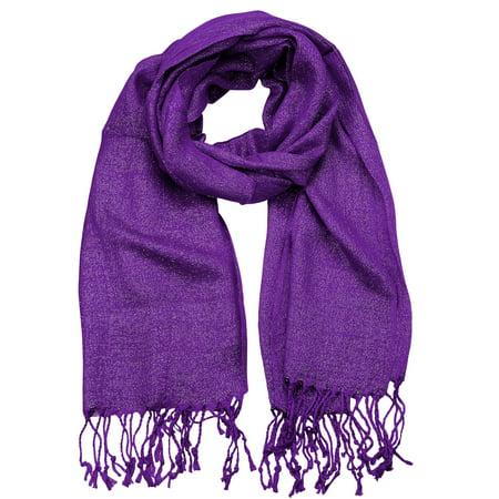 Braided Scarf (NYFASHION101 Women's Sheer Metallic Braided Tassel Ends Scarf Shawl Wrap, Purple)
