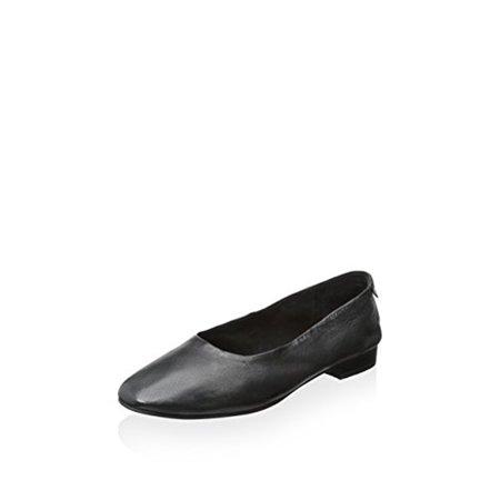 JOE'S BRAVO FLAT BLACK LEATHER Denim Leather Flats