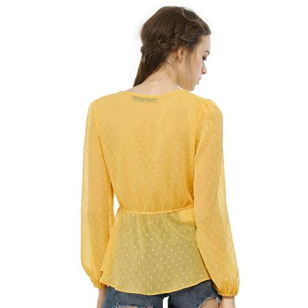 Unique Bargains Women's V Neck Drawstring Dots Chiffon Blouse Top Yellow M - image 2 of 6