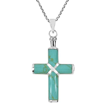 Christian Cross Simulated Turquoise Inlay .925 Sterling Silver Pendant Necklace