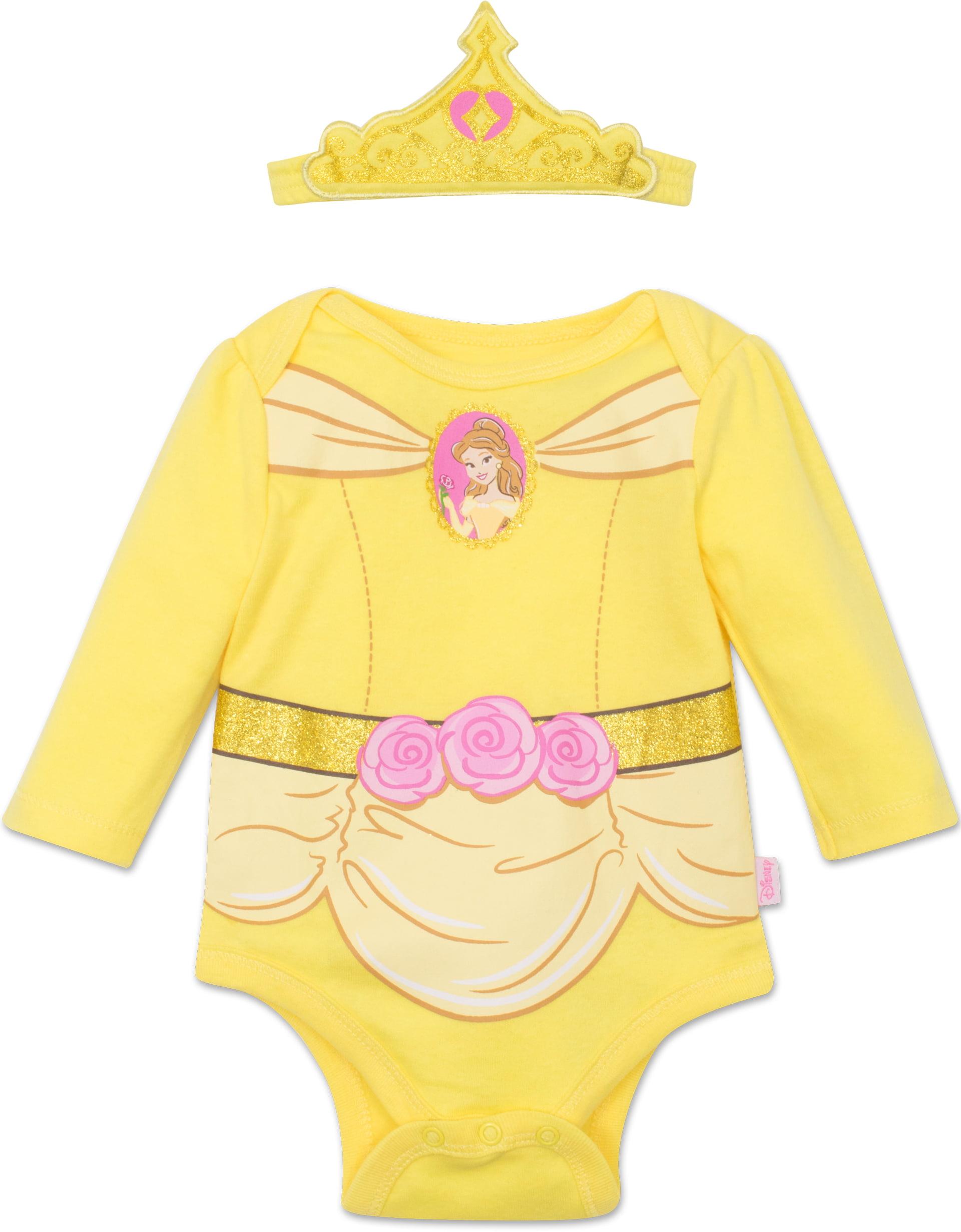 9000a0d85 Disney - Disney Princess Belle Baby Girls' Costume Long Sleeve Bodysuit and  Tiara Headband Yellow, 3-6 Months - Walmart.com