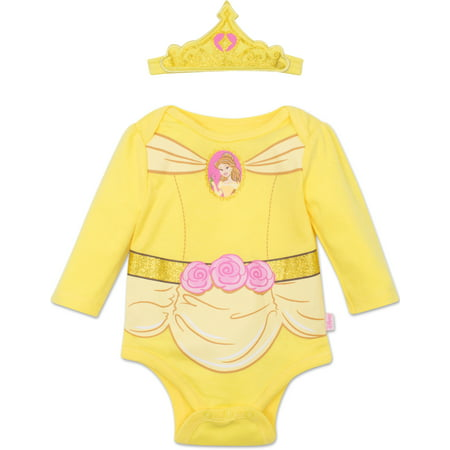 Disney Princess Belle Baby Girls' Costume Long Sleeve Bodysuit and Tiara Headband Yellow, 6-9 Months](Princess Peach Onesie)