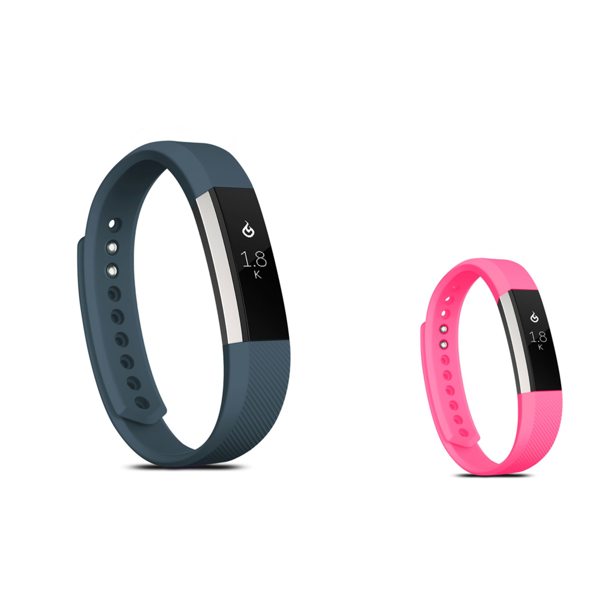 Zodaca Soft TPU Rubber Adjustable Wristbands Watch Band Strap For Fitbit Alta HR / Alta LARGE Size - Dark Gray+Hot Pink