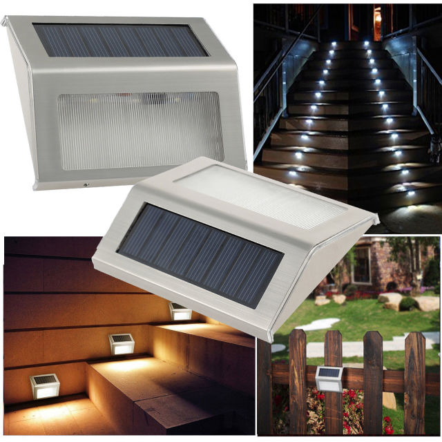 Solar Stair Light, EpicGadget Waterproof Outdoor LED Step Lighting 3 LED  Solar Powered Step Lights